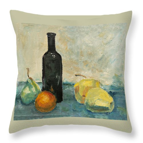 Still Life Throw Pillow featuring the painting Still Life - Study by Masha Batkova
