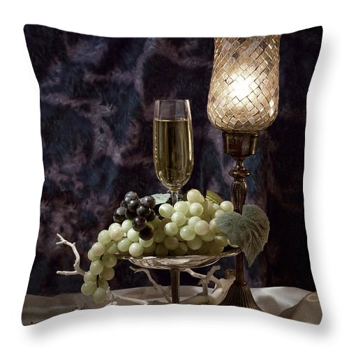 Wine Throw Pillow featuring the photograph Still Life Wine With Grapes by Tom Mc Nemar