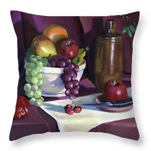 Fine Art Throw Pillow featuring the painting Still Life With Apples by Nancy Griswold