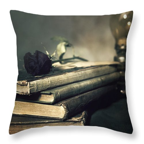Oil Lamp Throw Pillow featuring the photograph Still Life With Books And Roses by Jaroslaw Blaminsky