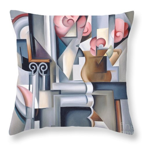 Still Throw Pillow featuring the painting Still Life With Brown Jug by Catherine Abel