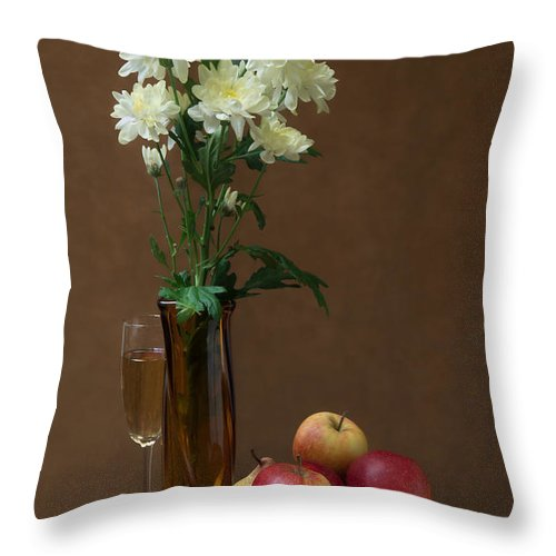Still Life Throw Pillow featuring the photograph Still Life With Chrysanthemums by Anatoliy Spiridonov