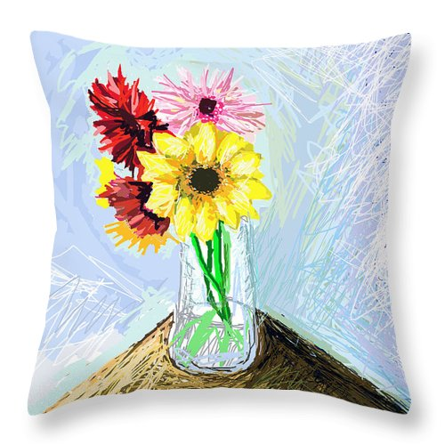 Images Of Flowers.flower Art.flower Photos Throw Pillow featuring the digital art Still Life With Flowers by Paul Sutcliffe