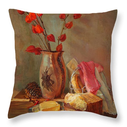 Still-life Throw Pillow featuring the painting Still-life With Fresh Bread And A Knife by Galina Gladkaya