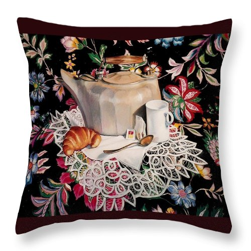 Stillife Throw Pillow featuring the pastel Still Life With Lace by Constance Drescher
