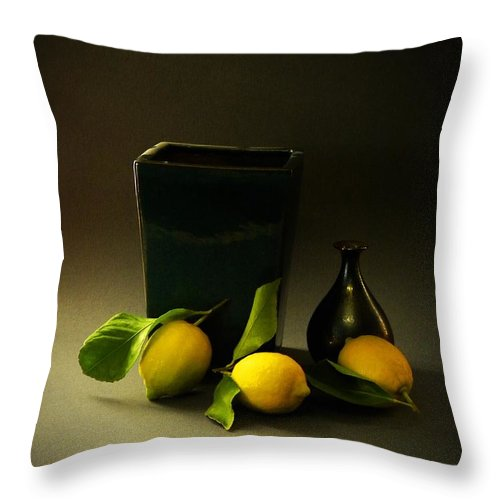 Still Life With Lemons Throw Pillow featuring the photograph Still Life With Lemons by Frank Wilson