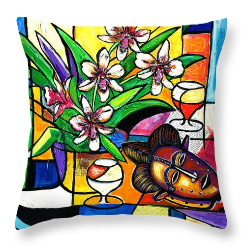 Everett Spruill Throw Pillow featuring the painting Still LIfe with Orchids and African Mask by Everett Spruill