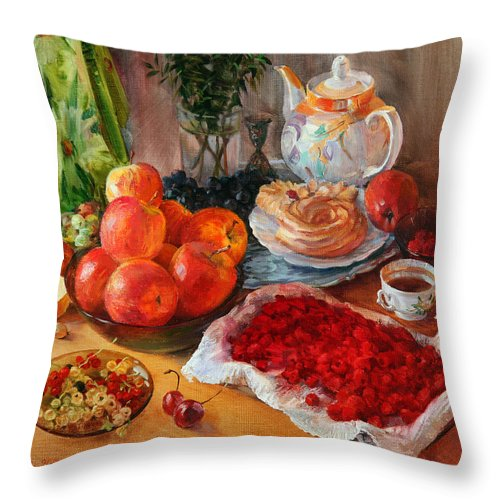 Still Life Throw Pillow featuring the painting Still Life With Raspberries And Apples by Galina Gladkaya