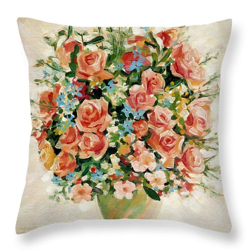 Flowers Throw Pillow featuring the painting Still Life With Roses by Iliyan Bozhanov