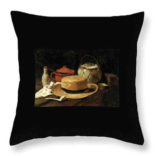 1885 Throw Pillow featuring the painting Still Life With Straw Hat by Vincent van Gogh