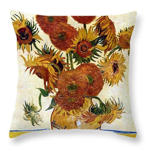 Vincent Van Gogh Throw Pillow featuring the digital art Still Life With Sunflowers by Vincent Van Gogh