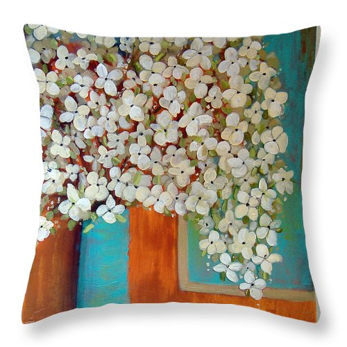 Flowers Throw Pillow featuring the painting Still Life With White Flowers by Lee Owenby