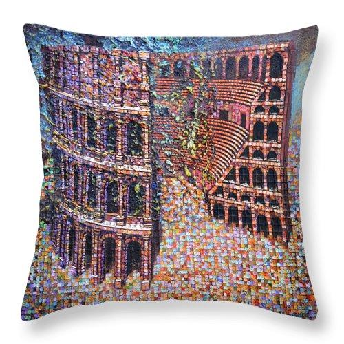 Roman Throw Pillow featuring the painting Still Stadium by Mark Jones