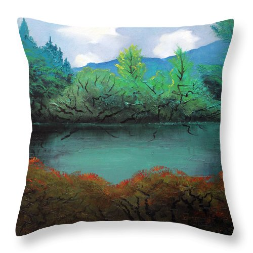 Landscape Throw Pillow featuring the painting Still water by Sergey Bezhinets