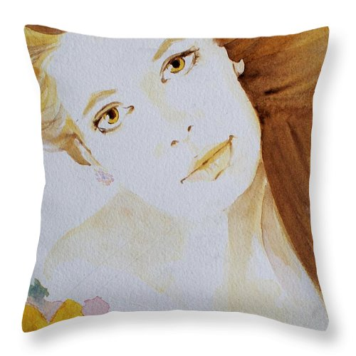 Watercolour Throw Pillow featuring the painting Still Waters' Reflection by Janice Gell