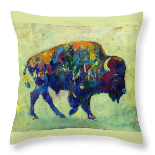 Bison Throw Pillow featuring the painting Still Wild by Kate Dardine