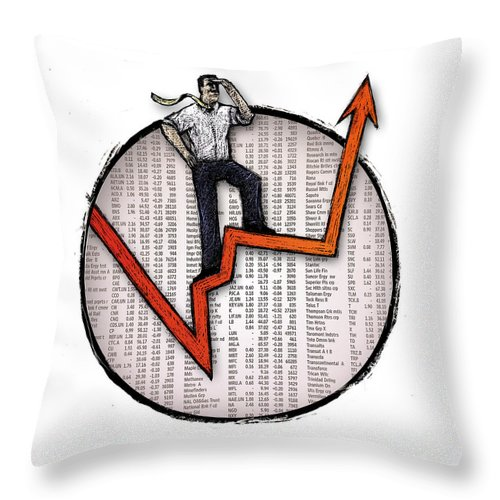 Stockmarket Throw Pillow featuring the drawing Stock Market by Chris Van Es