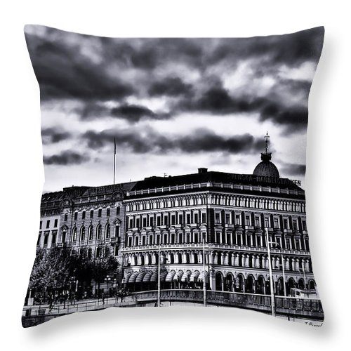 Stockholm Throw Pillow featuring the photograph Stockholm Bw V by Ramon Martinez