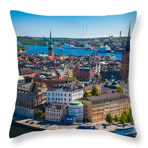 Architectural Throw Pillow featuring the photograph Stockholm From Above by Inge Johnsson