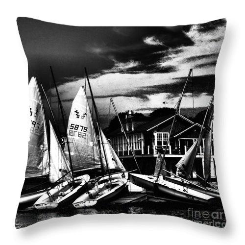 Sailboats Throw Pillow featuring the photograph Stockpiled Assets by Robert McCubbin