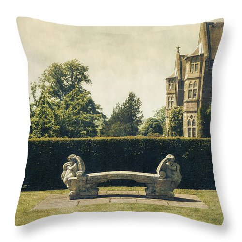 Manor Throw Pillow featuring the photograph Stone Bench by Joana Kruse