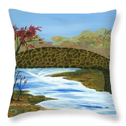 African-american Artist Throw Pillow featuring the painting Stone Bridge by Kenneth Thomas