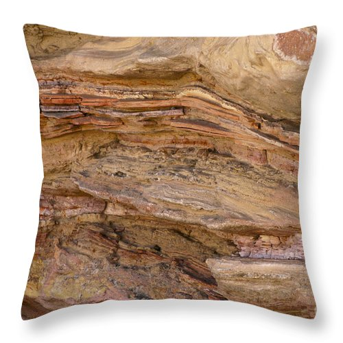 Big Bend Ranch State Park Texas Park Color Colors Texture Texture Rock Stone Throw Pillow featuring the photograph Stone Colors And Textures by Bob Phillips