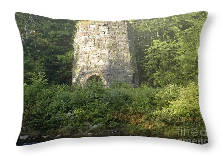 New England Throw Pillow featuring the photograph Stone Iron Furnace - Franconia New Hampshire by Erin Paul Donovan