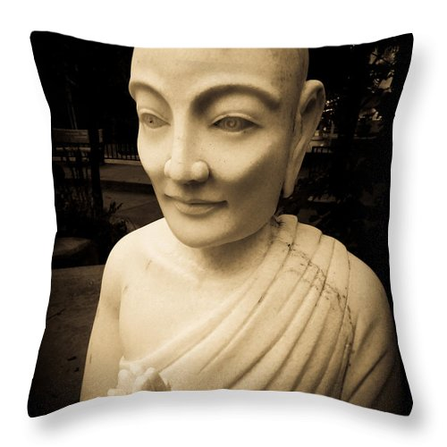 Ancient Throw Pillow featuring the photograph Stone Monk by Angela Wright