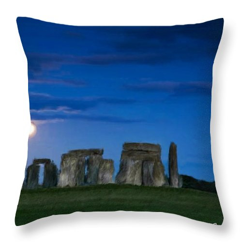 Stonehenge Throw Pillow featuring the painting Stonehenge At Night by Bruce Nutting