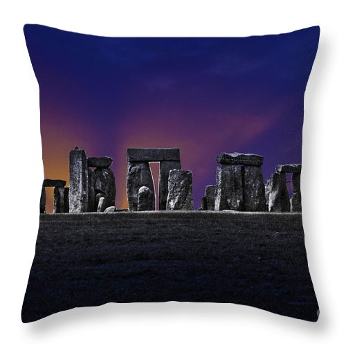 Stone Henge Throw Pillow featuring the photograph Stonehenge Looking Moody by Terri Waters