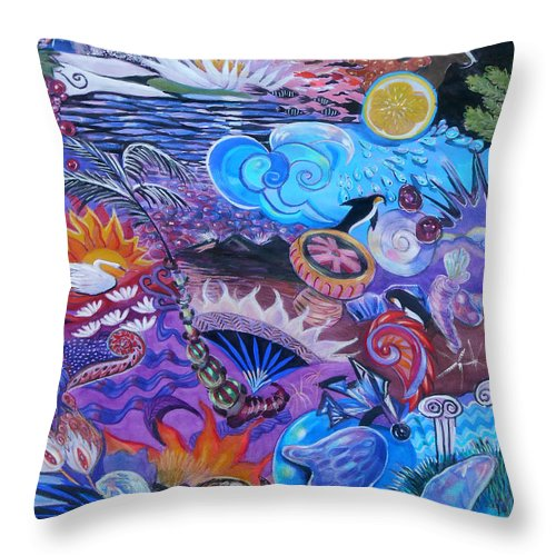 Stonehenge Throw Pillow featuring the painting Stonehenge by Lucia Hoogervorst