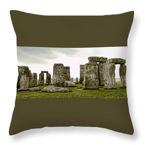 England Throw Pillow featuring the photograph Stonehenge Panorama by Jon Berghoff