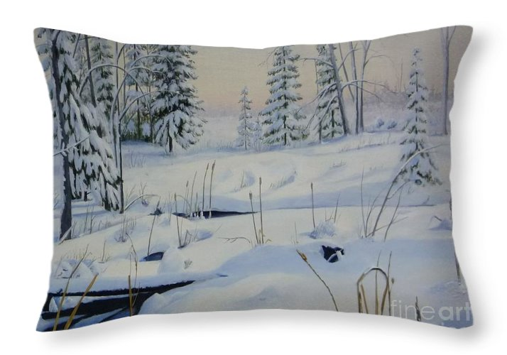 Winter Landscape In Stoney Swamp On The Ottawa Green Belt Throw Pillow featuring the painting Stoney Swamp by Al Hunter