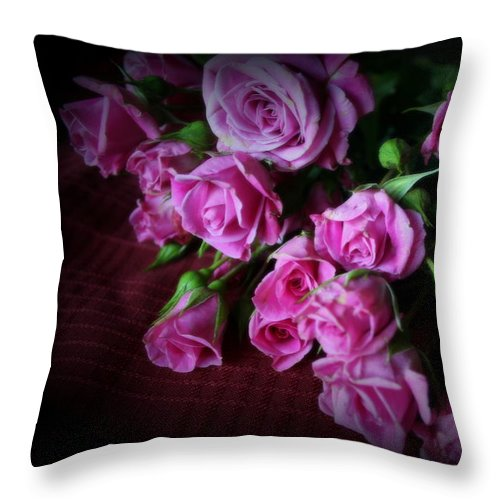Lavender Roses Throw Pillow featuring the photograph Stop And Smell The Roses by Kay Novy