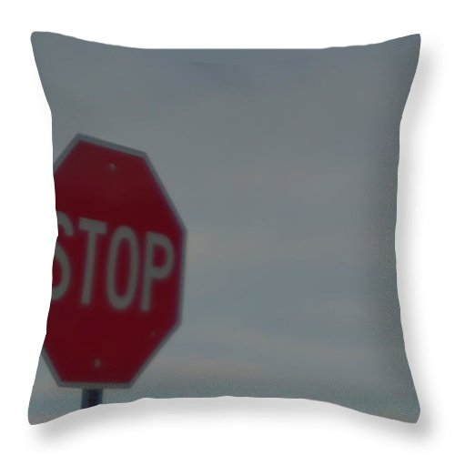 Stop Throw Pillow featuring the photograph Stop Sign Stays The Same by Marc Storch