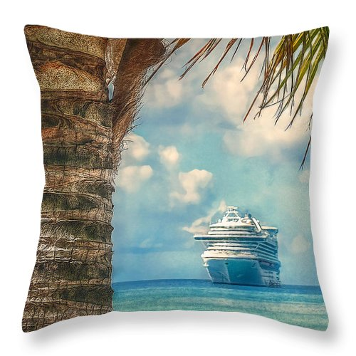 Destination Throw Pillow featuring the photograph Stopover In Paradise by Hanny Heim