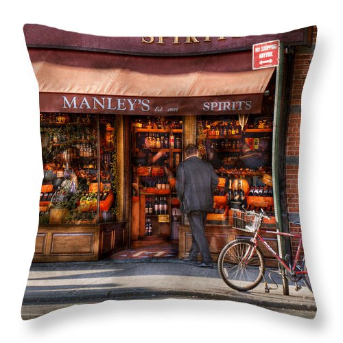 Manley Throw Pillow featuring the photograph Store - Wine - Ny - Chelsea - Wines And Spirits Est 1934 by Mike Savad