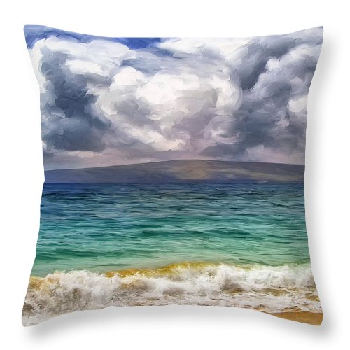 Storm Throw Pillow featuring the painting Storm Across The Channel by Dominic Piperata