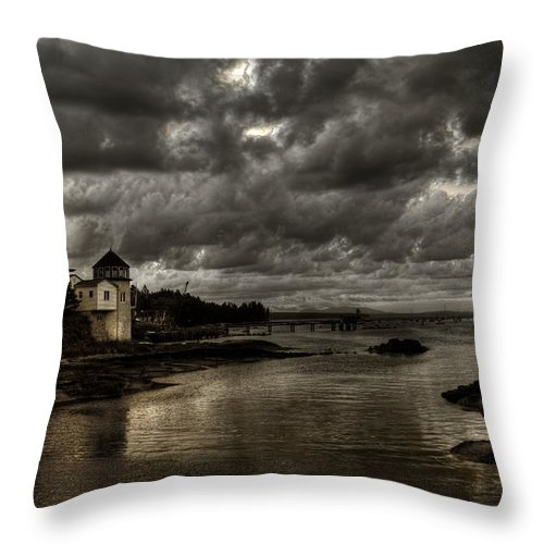 Hdr Throw Pillow featuring the photograph Storm Approaching by Greg DeBeck