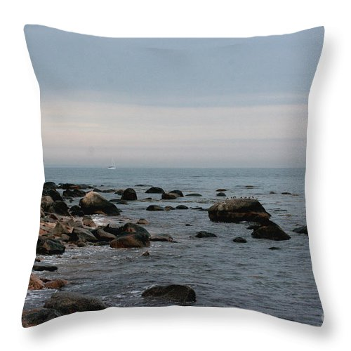 Ocean Throw Pillow featuring the photograph Storm At Sea In Rhode Island by Marcel J Goetz Sr