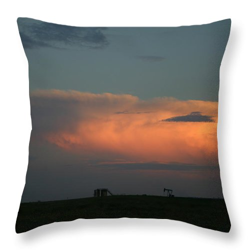 Storm Throw Pillow featuring the photograph Storm Cloud And Oil Well by Nina Fosdick