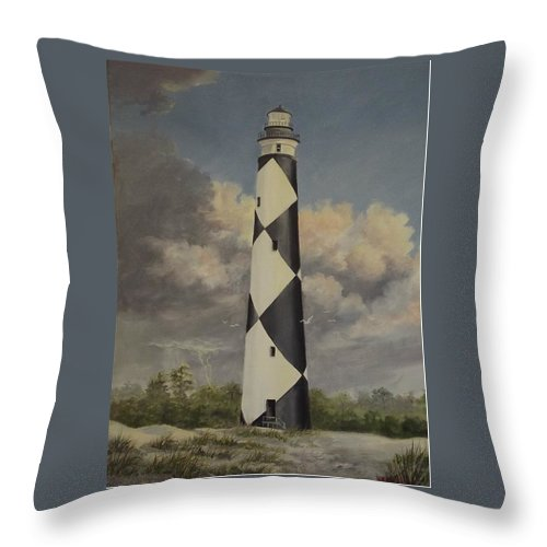 Stormy Skys Throw Pillow featuring the painting Storm Over Cape Fear by Wanda Dansereau