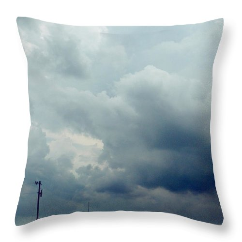 Road Throw Pillow featuring the photograph Storm Over Country Road by Jill Battaglia