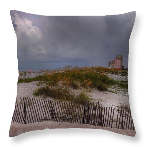 Palm Throw Pillow featuring the digital art Storm Over Gulf Shores by Michael Thomas