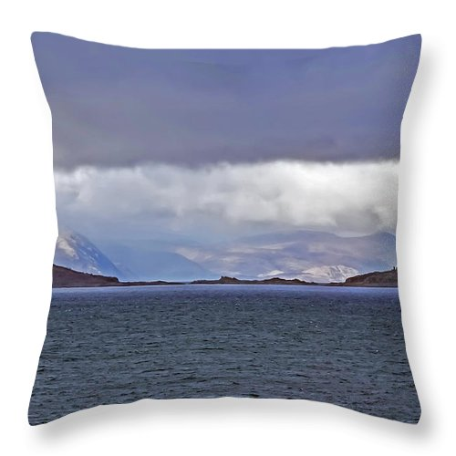 Travel Throw Pillow featuring the photograph Storm Over Oban Bay by Elvis Vaughn