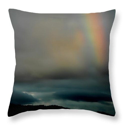 Rainbow Throw Pillow featuring the photograph Storm Passing by Donna Blackhall