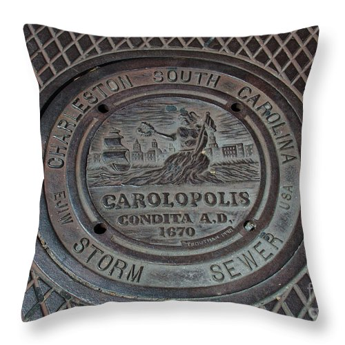 Storm Sewer Throw Pillow featuring the photograph Storm Sewer by Dale Powell