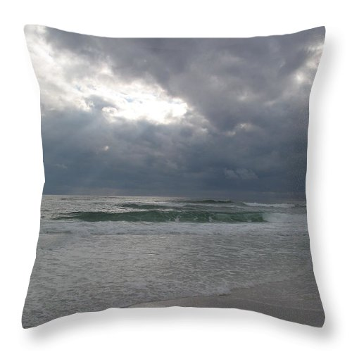 Clouds Throw Pillow featuring the photograph Stormclouds Over The Sea by Christiane Schulze Art And Photography