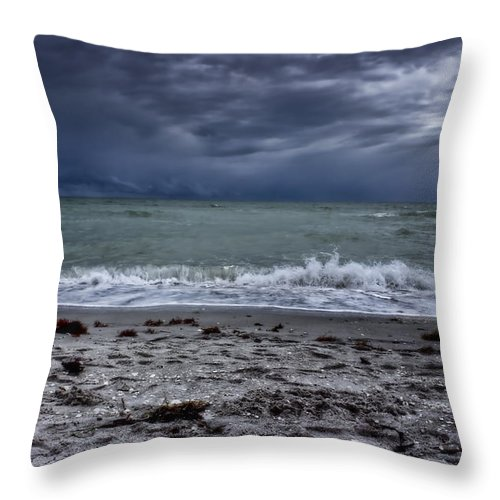 Ellen Lacey Throw Pillow featuring the photograph Storm's Rolling In by Ellen Heaverlo